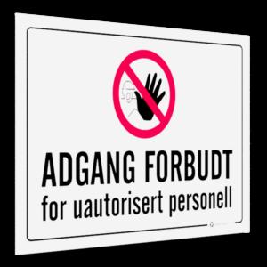 adgang forbudt skilt 30x20