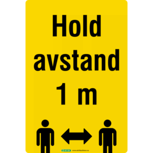 Hold avstand 30x20cm klebemerke gul